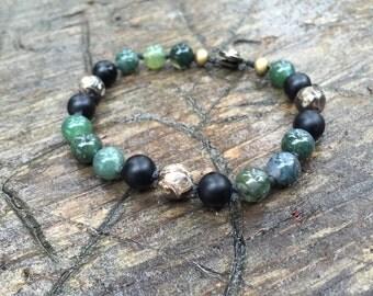 Mens Bracelet/men's jewelry/men's bracelet/men's beaded bracelet/men's mala/men's yoga jewelry/healing jewelry/mala bracelet/green bracelet