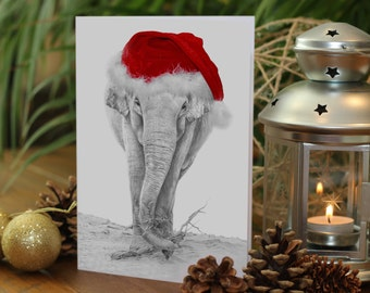 ELEPHANT Drawing Christmas Card - Gemma Hayward Art