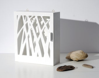 "Key box, key cabinet ""Nature"" white wooden box for keys"