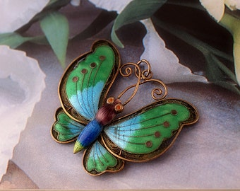Old Chinese Export Butterfly Pendant, Blue Green Enamel on Silver Filigree