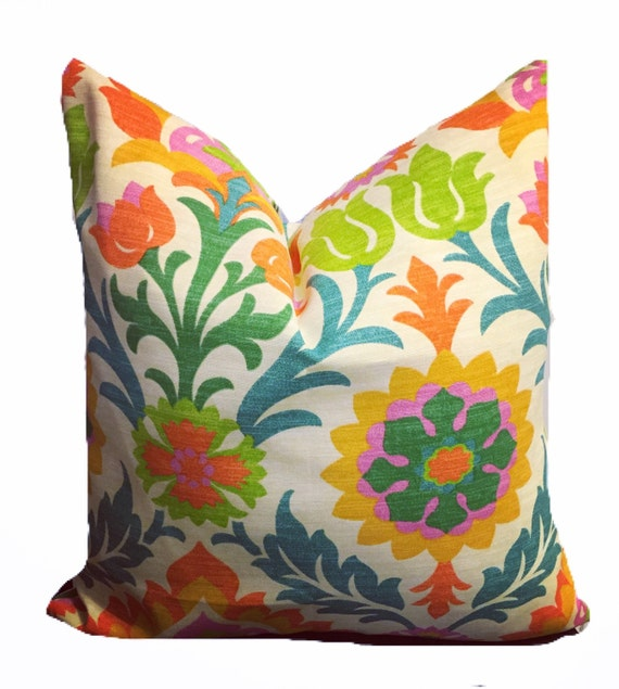 Multi color floral outdoor print pillow cover, Santa Maria, orange, turquoise, lime, gold, damask, Waverly