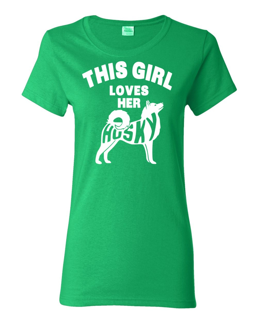 Husky T-shirt - This Girl Loves Her Husky - My Dog Husky Womens T-shirt