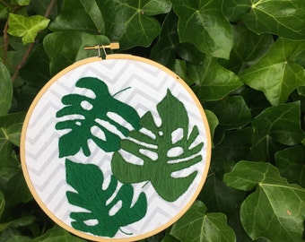 Tropical Palm Leaves - 6 Inch Hand Embroidered Summer Foliage Hoop Art Decor
