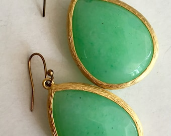 SALE!  Molded glass dangle earrings spring green teardrops with brushed gold frame