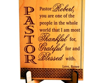 Pastor Appreciation Gift, Pastor Thanksgiving Gift, Custom Pastor Gift from Family, Thank You Gift to our Pastor for His Service. PLP 055