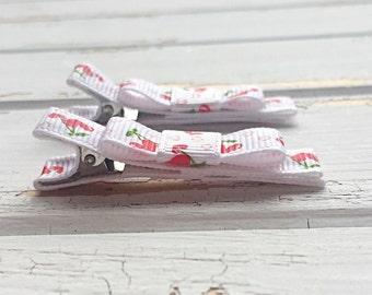 Cherry love hearts hair clips, Baby hair clips, Hair clips, Toddler hair clips, Hair accessories, Handmade
