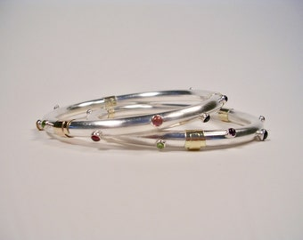 Gemstone Bangle, Sterling Silver Bracelet with 14k Gold Wraps and Semi-Precious Cabochons, Made by Hand in Maine