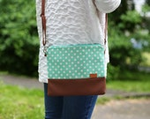 Mint messenger bag Dots Crossbody bag  Women gift Funny gifts Purse Gift for her Leather bag Modern Handbags