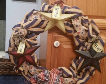Red, White & Blue July 4th American Door Wreath