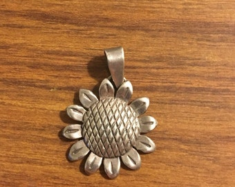 Sterling Silver Sunflower charm or pendant