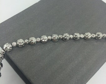 Rhodium Sterling Silver Diamond Cut Beads Bracelet