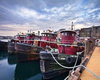 Fine Art Print, Moran Towing Tugboats, Portsmouth, Seacoast Photography, Harbor, New Hamsphire, New England, NH, Nautical Home Decor