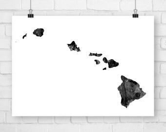 Printable Art, State Map, Hawaii, Hawaii Print, Hawaii Art, Hawaii Poster, Hawaii Gift, Hawaii State, Hawaii Map Art