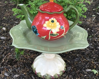 Cottage garden art - teapot whimsy - ceramic birdfeeder - upcycled ceramic bird bath - garden totem - garden whimsy - china yard art