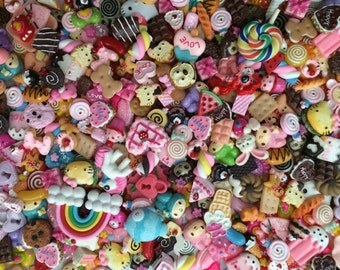 Kawaii Cabochons 100 pcs (Food, Cute, Colorful)