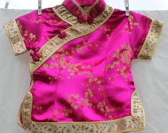 Baby pink and gold vintage cheongsam top; toddler