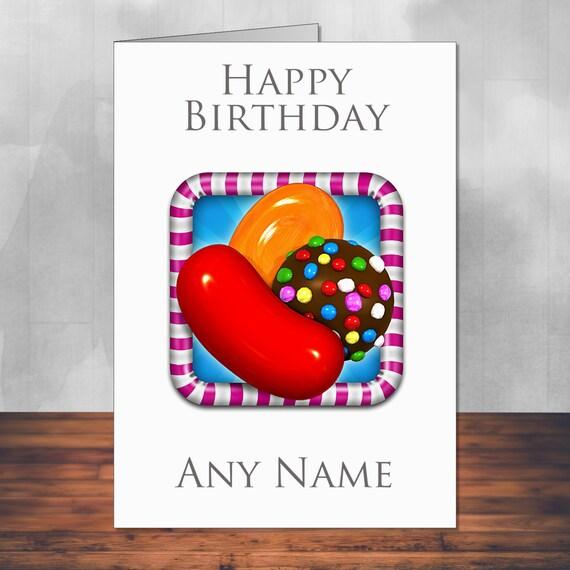 Candy Crush Birthday Card. 5x7 Inches 128mm X By MartynAndWells