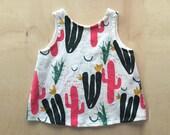 Screen Printed Ladies Bright Pink Cactus Garden Sleeveless Linen Top
