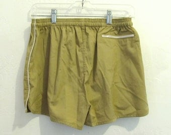 Men's Vintage 80's Tan KHAKI Colored RUNNING Shorts.32