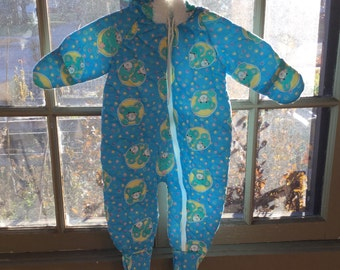 SALE - 20% OFF - Vintage Baby Snowsuit - Quilted Bunting - Blue with Teddy Bears - Cuddle Time - Size 3-12 Months
