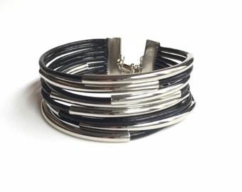 Black Leather Bracelet, Multilayer Bracelet, Tube Leather Black, Cuff Bracelet, Wrap Leather Bracelet, MultiStrand leather bracelet LB001281