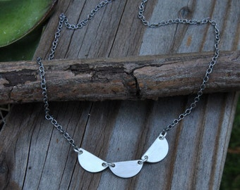 Minimalist Silver Necklace, Sterling Silver Necklace, Oxidized Jewelry, Charm Necklace