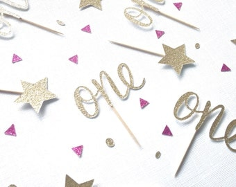One Gold Glitter Cupcake Toppers - First Birthday Party Decor - Pink and Gold Birthday Decoration