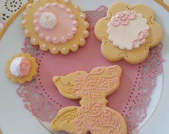 Fake biscuit, vintage style biscuits, set of 4 pink biscuits