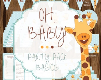 Giraffe Party Pack Basics, Giraffe Baby Shower Party Pack, Giraffe Baby Shower Printables