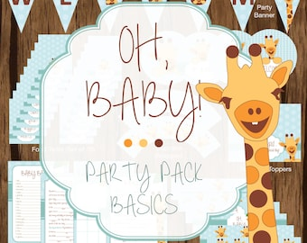 Giraffe Party Pack Basics, Giraffe Baby Shower Party Pack, Giraffe Baby Shower Printables, Giraffe Baby Shower Decorations