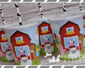 Set of 8 or 10-Farm Birthday Party Cups, Lids & Straws, Favor Cups