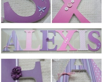 Custom Nursery Letters, Pink & Purple Wood Nursery Letters, Wall Hanging