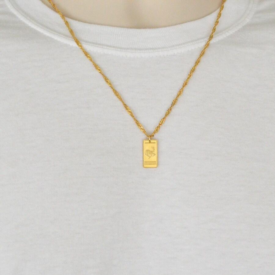 south krugerrand bar necklace pendant 24k gold plated