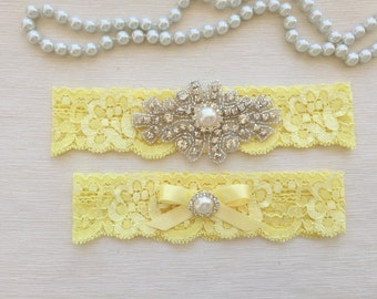 wedding garter set, yellow lace bridal garter set, bow, pearl/rhinestone