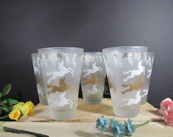 Libby Cavalcade, Set of (5), Flat Tumbler, Frosted, Drinking Glasses, With Horses, Vintage Drinkware