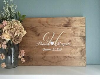Rustic Wedding Guest Book Alternative /Original Heart & Initial Design/ Painted Rustic Wedding Decor Wedding Guest Country Wedding Gift