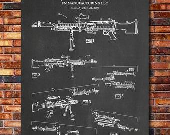 M240 Machine Gun Patent Print Art 2012