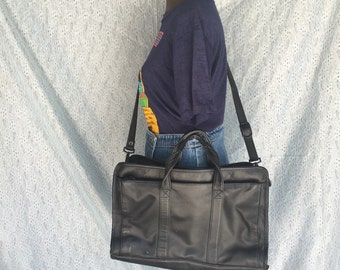 Vintage Black Leather Briefcases - Office Bag - Mens Attache - Laptop Bag - Leather Briefcase