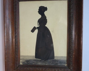 Antique Victorian silhouette painting of a lady