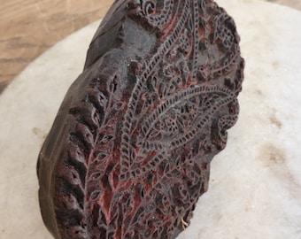 Antique small wooden textile print block hand printing block