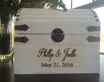 Wood burned, rustic, country, chic, white distressed, wedding chest