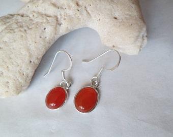 Silver carnelian earrings set in 92.5 sterling silver, free shipping