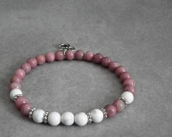 Semi-precious stones bracelet pink