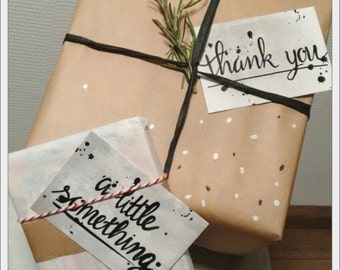 Giftcards / gifttags - black and grey - handlettering