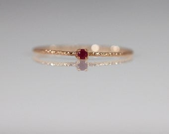 14K solid gold simple ruby ring, Gold Ruby Ring, Ruby Engagement Ring, 14K Delicate ruby ring, Birthstone ring, 14k stackable ring,