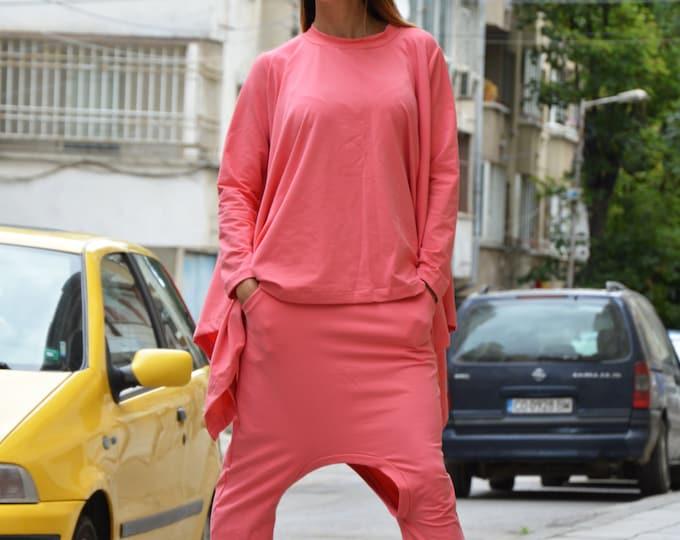 Women's Loose Cotton Pink Two Piece Set, Harem Pants, Asymmetric Sweatshirt, Extravagant Combo Set By SSDfashion