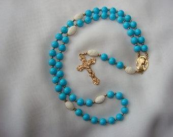 Turquoise and Carved Bone Rosary