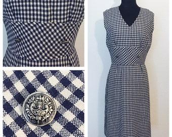 Original Vintage 1950's Navy Blue and White Checkered Wiggle Dress, 1950's Day Dress, 50's Sleeveless Dress, 50's Wiggle Dress, Size: Medium