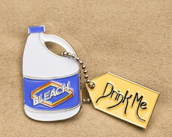 Drink Bleach Through the Looking Glass lapel pin hat pin Alice in Wonderland