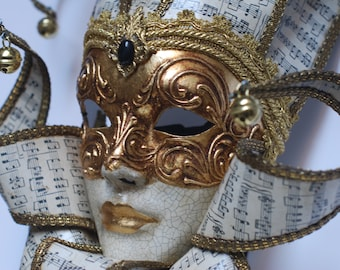 Jester Mask with Music Collar - Full Face Venetian Mask Gold and White -  Home Decor Jester, Interior Design Mask F35